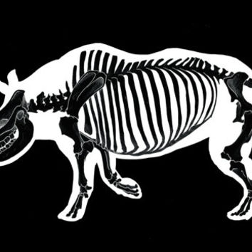 Rhino Skeleton Art Print. LIMITED EDITION animal Original art illustration. skull black and white poster wall art punk gothic streetart