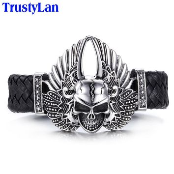 Stainless Steel Men's Skull With Wing Leather Bracelet