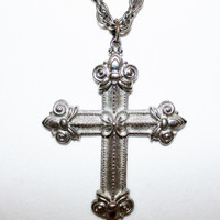 Vintage Ornate Large Silver Cross with Silver Link Necklace