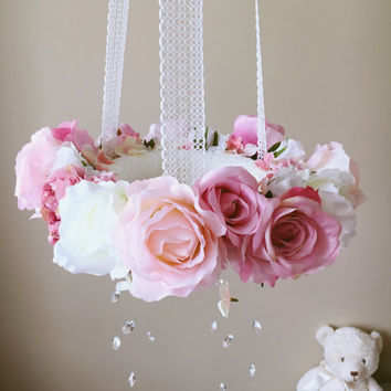 Baby mobile, Floral mobile, Flower mobile with Swarovski crystals / Crib mobile, Vintage inspired, Wedding chandelier