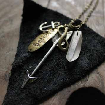 anchor arrow  infinity belive  rock  crystal point boho  necklace