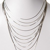 Silver Layered Chain Necklace/Earring Set