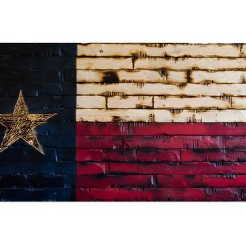 Texas State Flag Rustic Wood Decor 59x29