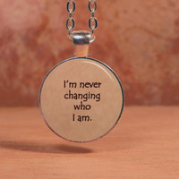"Imagine Dragons ""I'm never changing who I am"" Lyrics Song Poem Pendant Necklace Inspiration Jewelry"