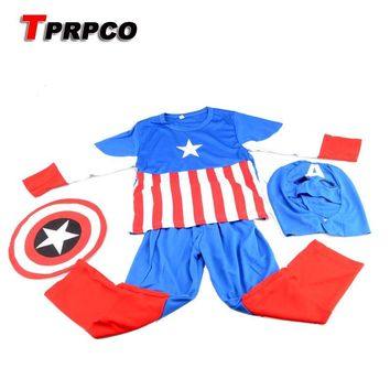 TPRPCO Captain America Cosplay Costume Halloween Costume Kids Role Play Superhero Superman Cosplay Avengers Costume 3-7 Y NL100