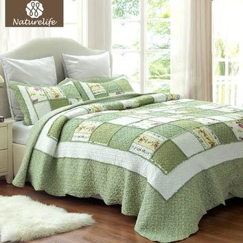 Naturelife Ruffle Pattern Quilt Set Bedspread Bed Cover Quilted Bedding Set Duvet Cover Pillowcase Quilts Warm Coverlet Set