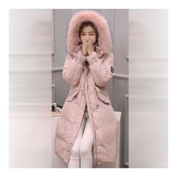Down Coat Woman Middle Long Thick Fur Collar Slim Winter   pink