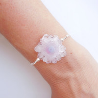 Solar Quartz Bracelet in Pale Pink - OOAK Jewelry