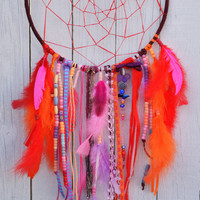 Large Dream Catcher Hues of Pinks and Oranges