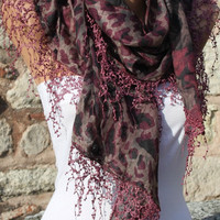 Multicolor Scarf -  Cowl with Lace Edge by Fatwoman