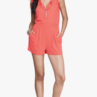 CORAL RUFFLED ZIP FRONT ROMPER from EXPRESS