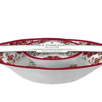 Allegra Red Chip and Dip 2 Bowl Set