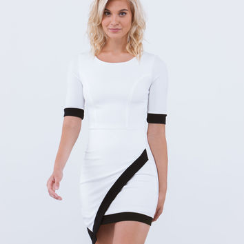 Stark Contrast Diagonal Hem Dress GoJane.com