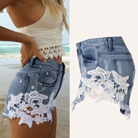 Sexy Lace Patchworkpants High Waiste Tassels Ripped Shorts Jeans Trousers Plus Size Women Denim Jeans Shorts INY66
