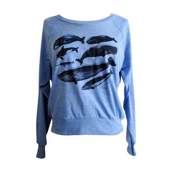 Whale Raglan Sweater - Nautical Marine Life American Apparel SOFT vintage feel - Available in sizes S, M, L