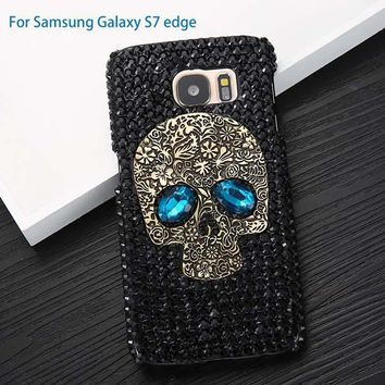 Diamond Bling Rhinestone Skull Cover iPhone 5 5s 6 6S 7 8 Plus Samsung S8 S7 S6 Edge Case