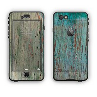 The Chipped Teal Paint on Aged Wood Apple iPhone 6 LifeProof Nuud Case Skin Set