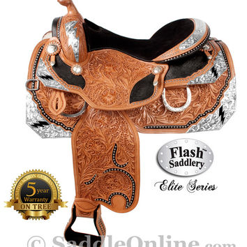 Western Horse Lightning Bolt Show Saddle by Flash- Western Horse Saddles - Saddle Online
