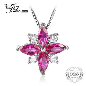 JewelryPalace Flower 0.86ct Created Ruby Necklaces & Pendants 100% 925 Sterling Silver 45cm Box Chain Fashion Brand Fine Jewlery