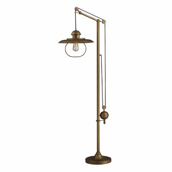 Farmhouse 1 Light Floor Lamp In Antique Brass With Matching Metal Shade