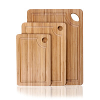 100% Natural Bamboo Chopping Cutting Board with Outer Ridge and Thumb Hole