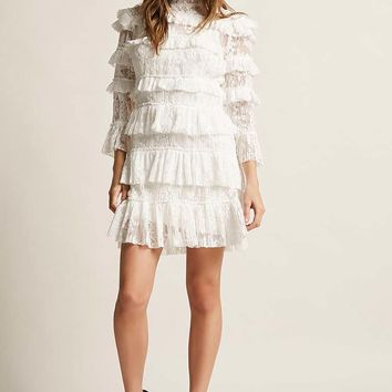 Tiger Mist Ruffled Lace Dress