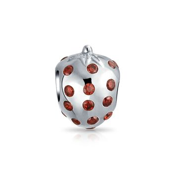 Red Strawberry Fruit Food Lover CZ Charm Bead Sterling Silver Bracelet