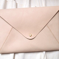 Personalized Leather 13 Macbook Air/Pro Case, Envelope Clutch, natural color, Hand Stitched by Harlex
