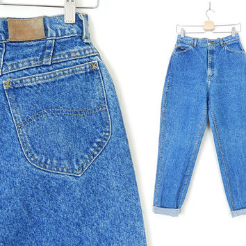 "Vintage 90s High Waisted Acid Washed Lee Jeans - Tapered Leg High Rise Denim Lee Mom Jeans - 29"" Waist Tall Size"