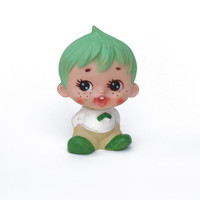Cute greenhaired boy vintage 60s rubber squeeze toy