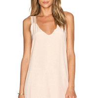 Pink V-Neck Crisscross Sleeveless Dress