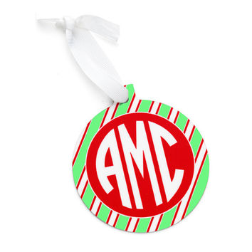 Monogrammed Red Green Stripe Christmas Tree Ornament - Personalized Red Chevron Green Pink