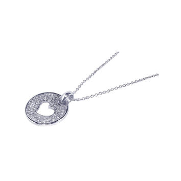 .925 Sterling Silver Rhodium Plated Open Heart Cubic Zirconia Inlay Dangling Necklace 18 Inches