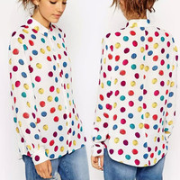 Colorful Polka-Dot Pattern Long Sleeve Blouse