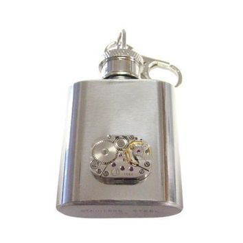 1 Oz. Stainless Steel Key Chain Flask with Steampunk Rectangular Watch Gear Pendant