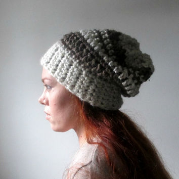 Slouchy Beanie. Chunky Unisex Hat. Wheat & by LarkinAndLarkin