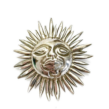 Sterling Silver Sun Brooch/Pendant, Pineda's in a Crown, 970 Sterling, Heavy Gram Weight, Three Dimensional Design, Vintage Gift for Her