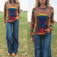 Vintage 1970's Bright RAINBOW Navajo Knit Boho Hippie Pullover Sweater | Size Medium