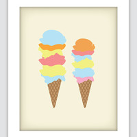 Ice Cream Art, Vintage Inspired, Kitchen Art