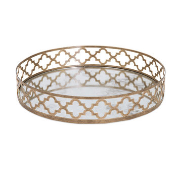 Chelsey Geometric Mirror Tray