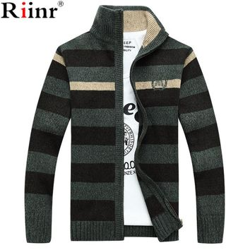 New Warm Thick Velvet Cashmere Sweaters Men Zipper Mandarin Collar Man Casual Clothes Striped Knitwear Coat