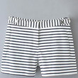 Black and White Striped Shorts with Pockets