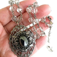 OOAK Antique Clear Glass Bead Vintage Hematite Filigree Lace Pendant Choker Silver Tone RePurposed Necklace Assemblage