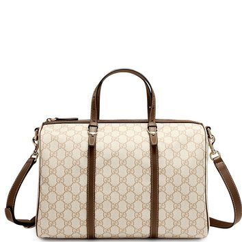 100% AUTH NEW GUCCI NICE GG SUPREME WHITE CANVAS WEB BOSTON BAG/HANDBAG/PURSE