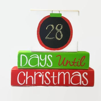 Christmas Ornament Countdown Chalkboard WoodenBlock Shelf Sitter Stack