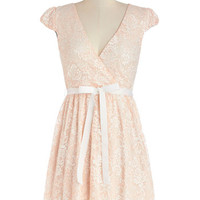 ModCloth Pastel Mid-length Cap Sleeves A-line Poised in Peach Dress