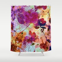 flowers and light Shower Curtain by clemm