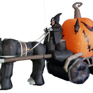 Inflatable Grim Reaper Pumpkin Carriage