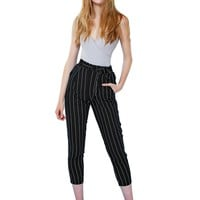 LE3NO Womens Slim High Waisted Striped Loose Casual Long Peg Trouser Pants (CLEARANCE)