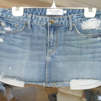 Upcycled Abercrombie & Fitch Denim Destroyed Distressed Skirt